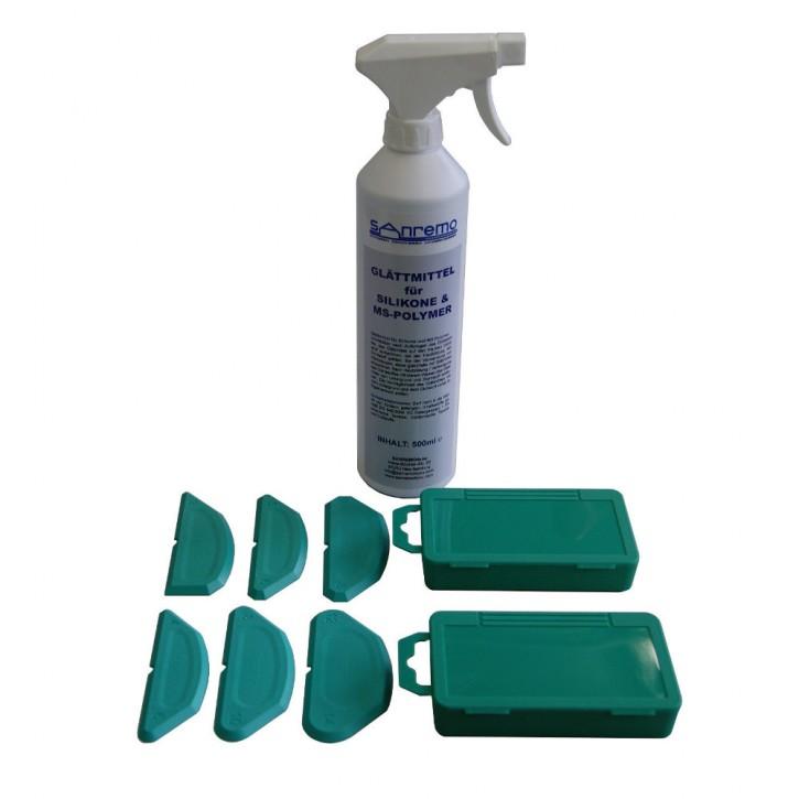 Basic 10: Glättmittel 500ml + 3 Winkel + 3 Radien Fugenschablonen