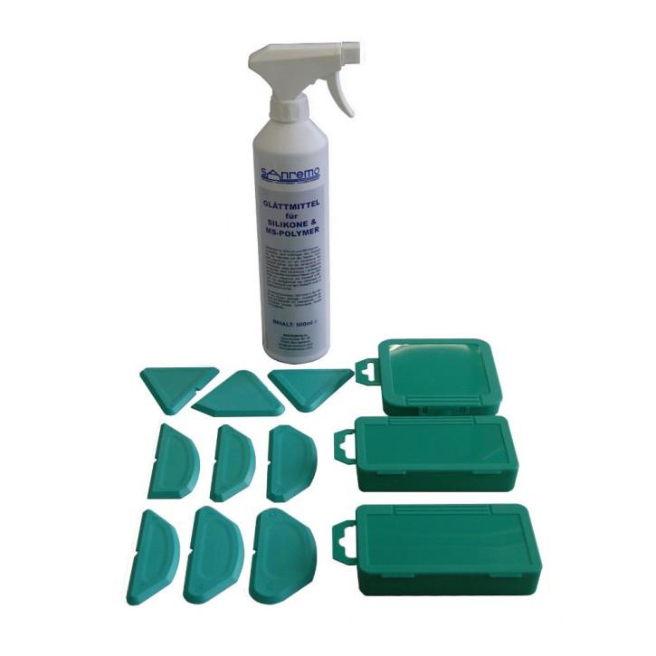 Basic 11: Glättmittel 500ml + 3 Winkel + 3 Radien + 3 Duplex Fugenschablonen