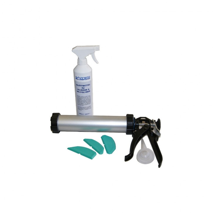 Basic 7: Glättmittel 500ml + Auspresspistole geschlossen + 3 Winkel Fugenschablonen