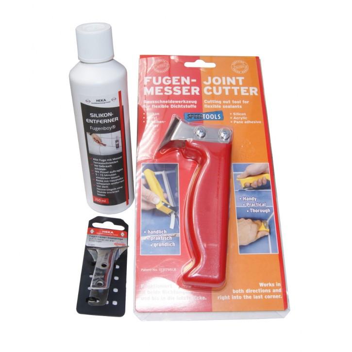 Fugenboy Silikonentferner 250ml + Fugenmesser + Ersatzklinge für Fugenmesser