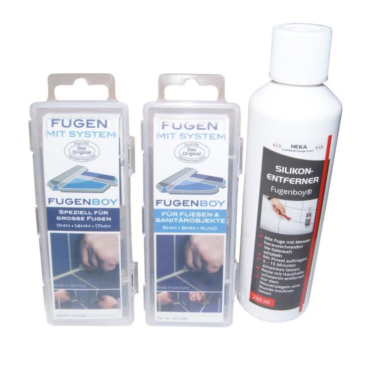 Fugenboy Set 5mm / 8mm + Set 11mm /14mm /17mm + Silikonentferner 250ml