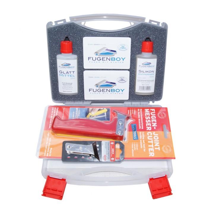 Profi-Koffer für Fugenwerkzeuge Silikonentferner Glättmittel Fugenmesser/Klinge