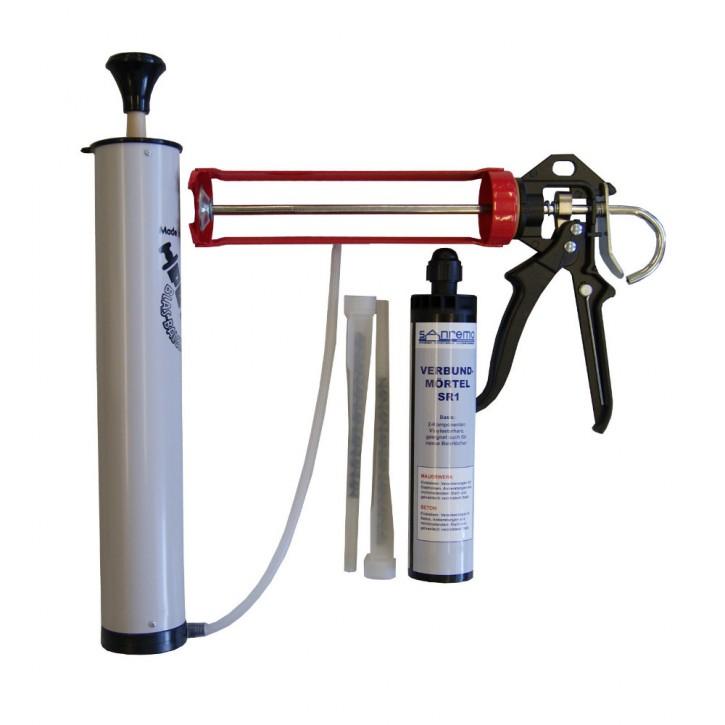 Set 05: Injektionsmörtelsystem 300ml Kartusche + 2x Statikmischer + Ausblaspumpe + Auspresspistole