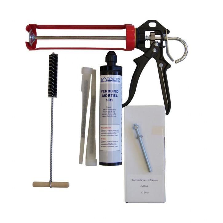 Set 06: Injektionsmörtelsystem 300ml Kartusche + 2x Statikmischer + 10x Ankerstange M8x110mm verzinkt + Auspresspistole + Nylonbürste