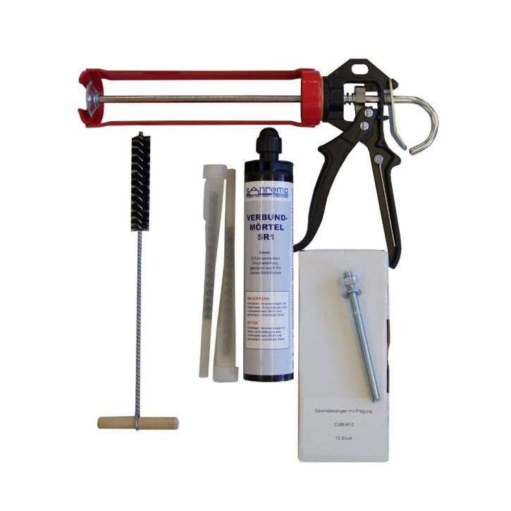 Set 07: Injektionsmörtelsystem 300ml Kartusche + 2x Statikmischer + 10x Ankerstange M10x130mm verzinkt + Auspresspistole + Nylonbürste