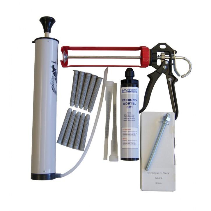Set 13: Injektionsmörtelsystem 300ml Kartusche + 2x Statikmischer + 10x Ankerstange M12x160mm verzinkt + 10x Siebhülse 15x100mm + Auspresspistole + Nylonbürste