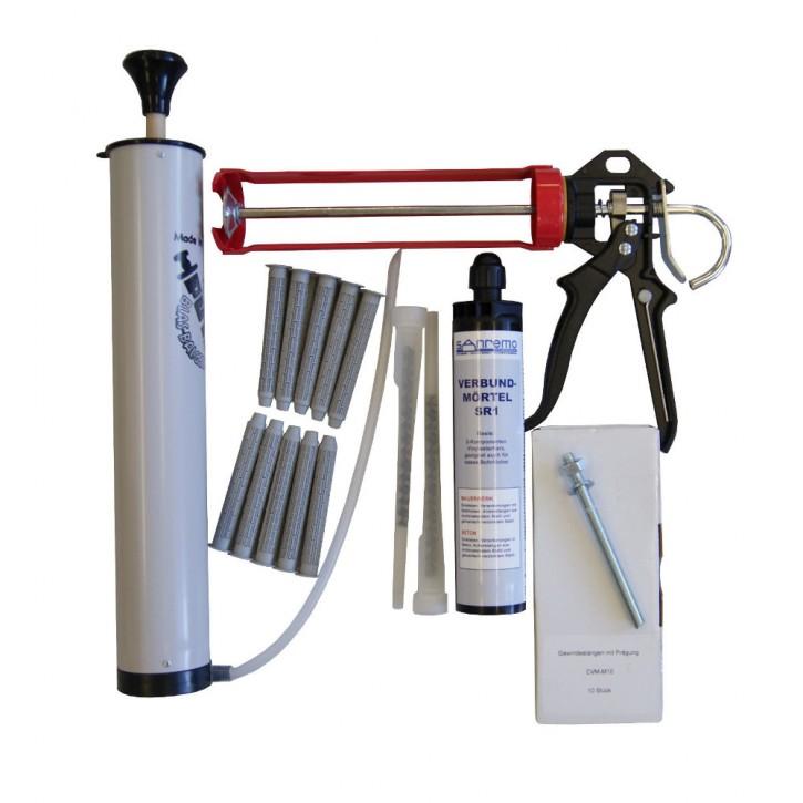 Set 14: Injektionsmörtelsystem 300ml Kartusche + 2x Statikmischer + 10x Ankerstange M10x130mm verzinkt + 10x Siebhülse 15x100mm + Auspresspistole + Nylonbürste