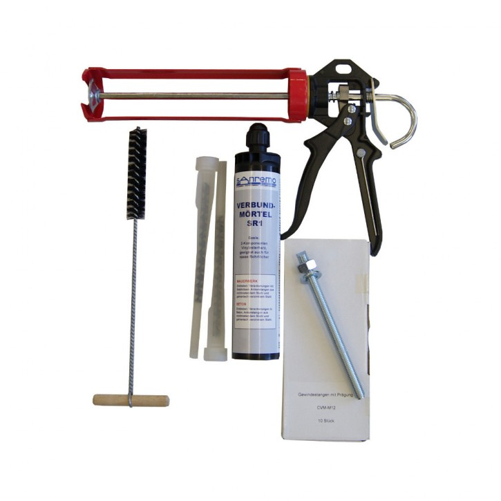 Set 20: Injektionsmörtelsystem 300ml Kartusche + 2x Statikmischer + 10x Ankerstange M12x160mm A4 + Auspresspistole + Nylonbürste