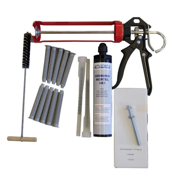 Set 22: Injektionsmörtelsystem 300ml Kartusche + 2x Statikmischer + 10x Ankerstange M8x110mm A4 + 10x Siebhülse 13x100mm + Auspresspistole + Nylonbürste