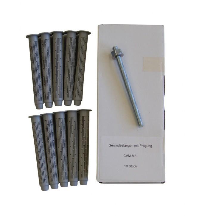 Set 27: 10x Ankerstange M8x110mm A4 + 10x Siebhülse 13x100mm