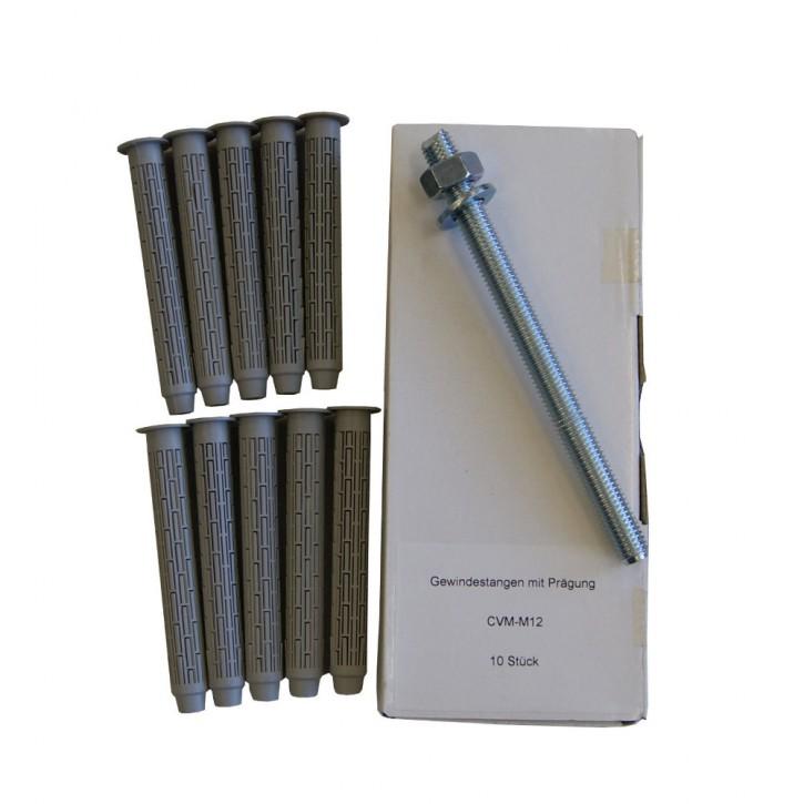 Set 29: 10x Ankerstange M12x160mm A4 + 10x Siebhülse15x100mm