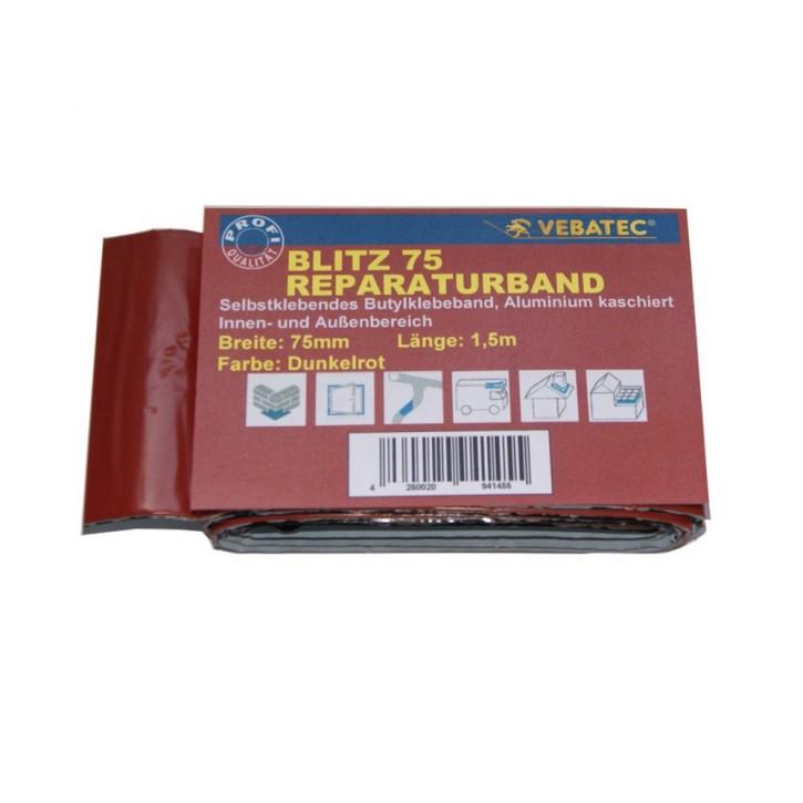 Vebatec Blitz Butyl Reparaturband Alu dunkelrot 75mm / 1,5m