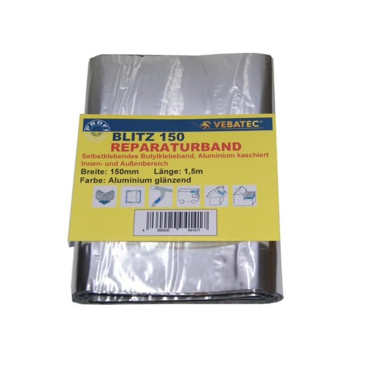 Vebatec Blitz Butyl Reparaturband Alu glänzend 100mm / 1,5m