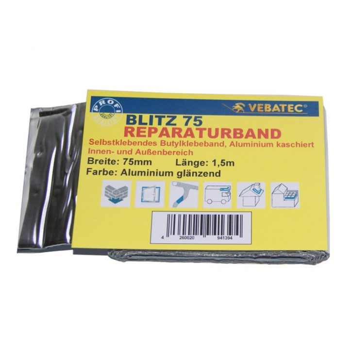 Vebatec Blitz Butyl Reparaturband Alu glänzend 75mm / 1,5m