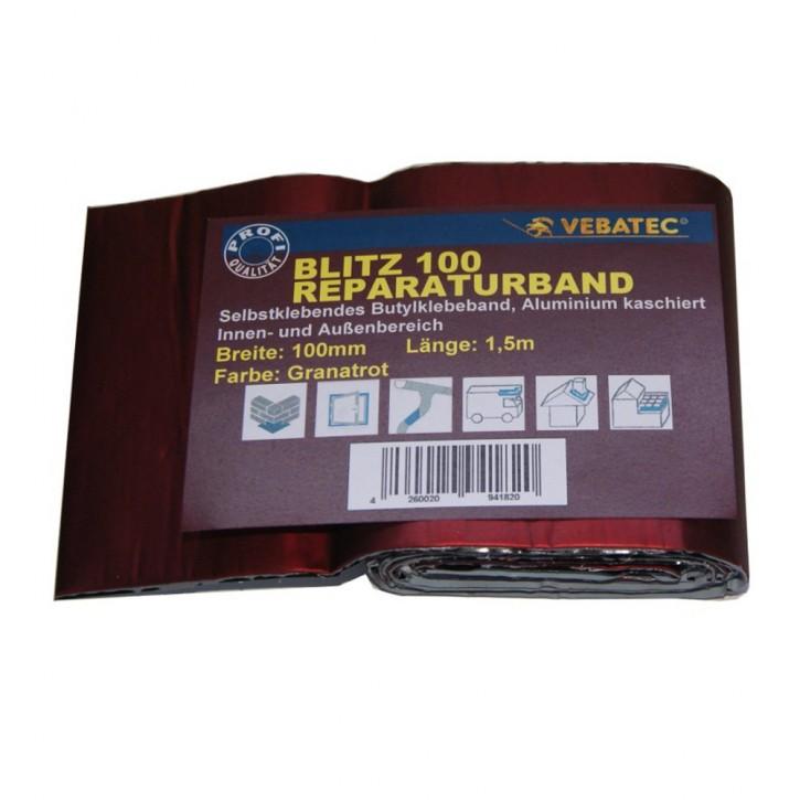 Vebatec Blitz Butyl Reparaturband Alu granatrot 100mm / 1,5m