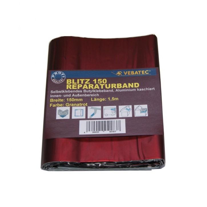 Vebatec Blitz Butyl Reparaturband Alu granatrot 150mm / 1,5m