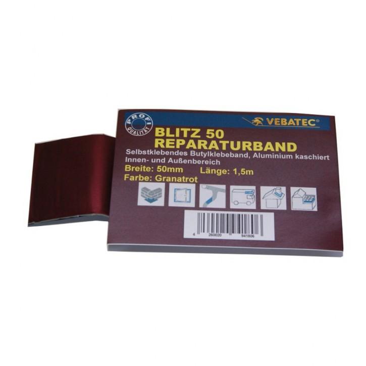 Vebatec Blitz Butyl Reparaturband Alu granatrot 50mm / 1,5m
