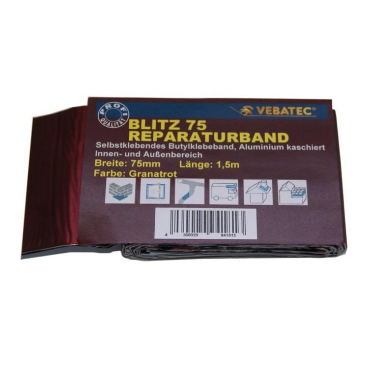 Vebatec Blitz Butyl Reparaturband Alu granatrot 75mm / 1,5m