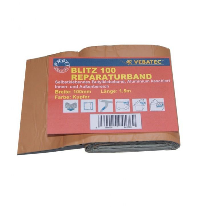 Vebatec Blitz Butyl Reparaturband Alu kupferfarben 100mm / 1,5m