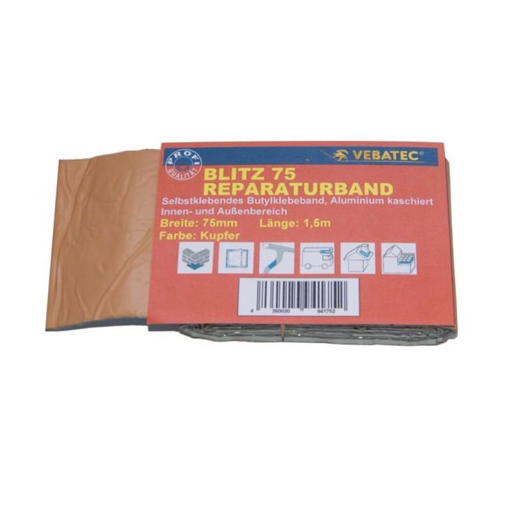 Vebatec Blitz Butyl Reparaturband Alu kupferfarben 75mm / 1,5m