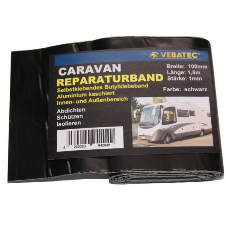 Vebatec Caravan Butyl Reparaturband Alu schwarz 100mm 1,5m
