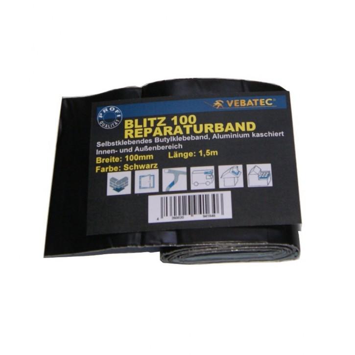 Vebatec Blitz Butyl Reparaturband Alu schwarz 100mm / 1,5m