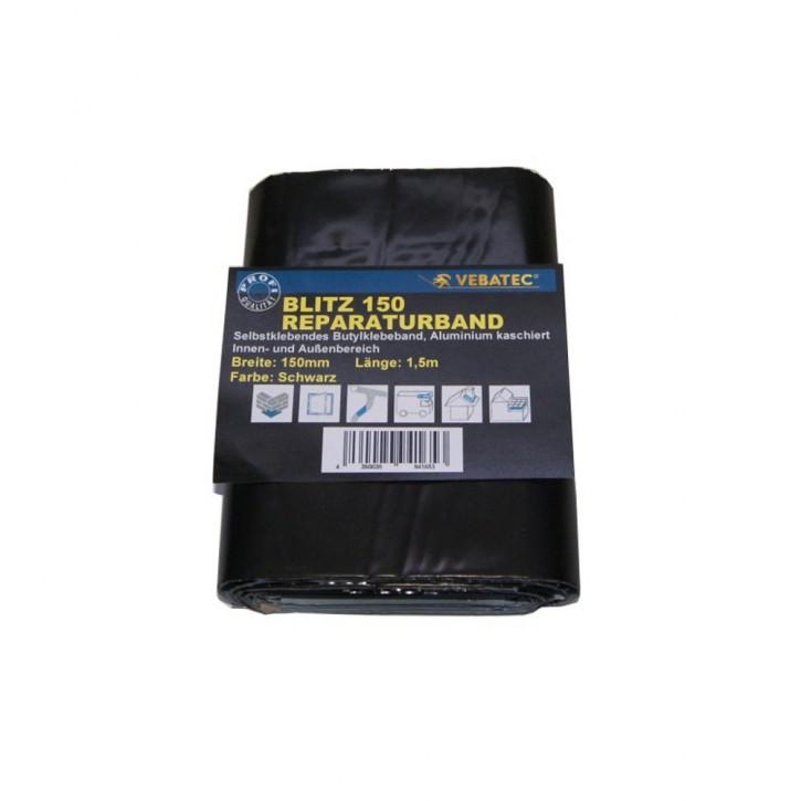 Vebatec Blitz Butyl Reparaturband Alu schwarz 150mm / 1,5m