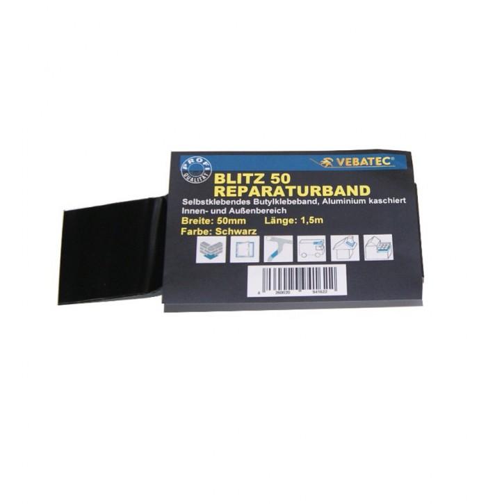 Vebatec Blitz Butyl Reparaturband Alu schwarz 50mm / 1,5m