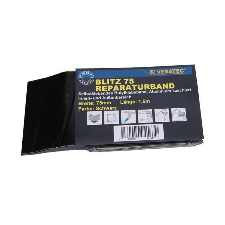 Vebatec Blitz Butyl Reparaturband Alu schwarz 75mm / 1,5m