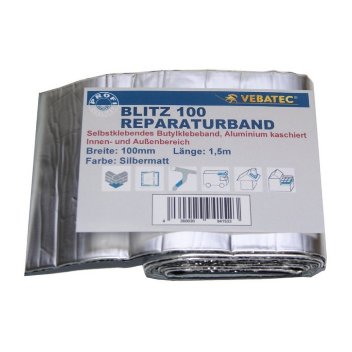 Vebatec Blitz Butyl Reparaturband Alu silbermatt 100mm / 1,5m