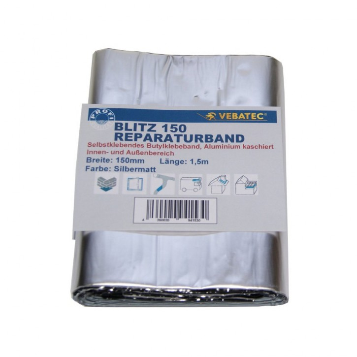 Vebatec Blitz Butyl Reparaturband Alu silbermatt 150mm / 1,5m
