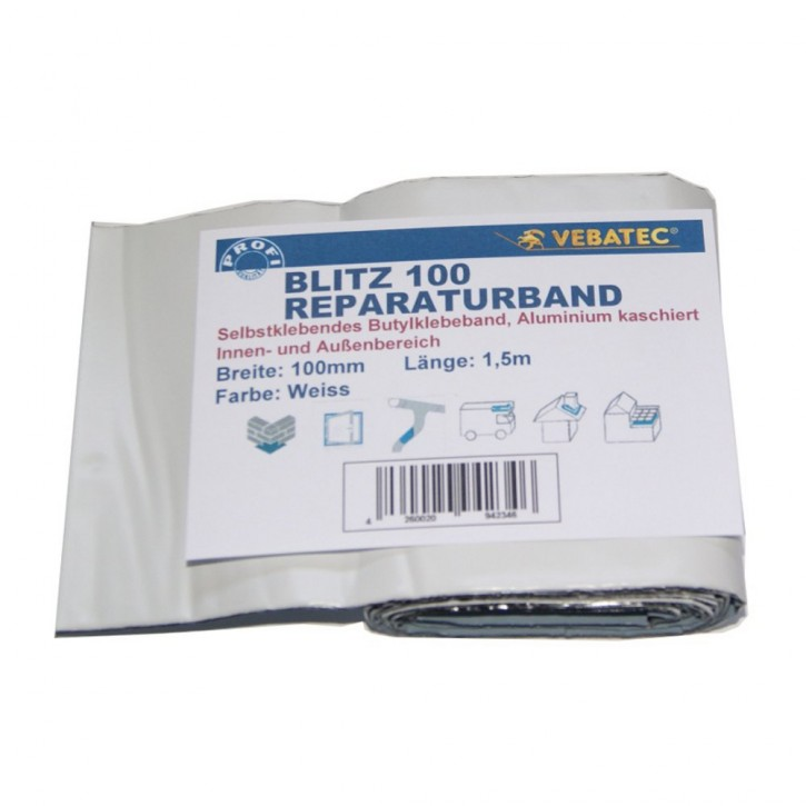 Vebatec Blitz Butyl Reparaturband Alu weiß 100mm / 1,5m