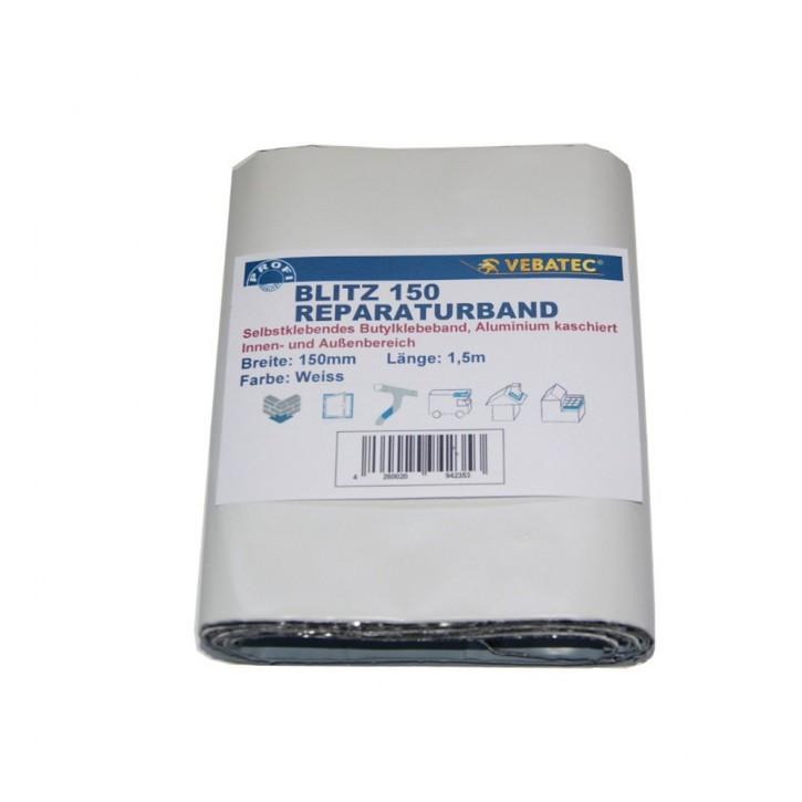 Vebatec Blitz Butyl Reparaturband Alu weiß 150mm / 1,5m