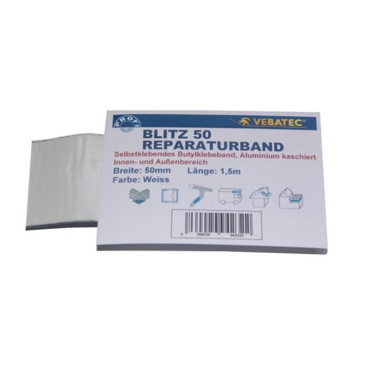 Vebatec Blitz Butyl Reparaturband Alu weiß 50mm / 1,5m