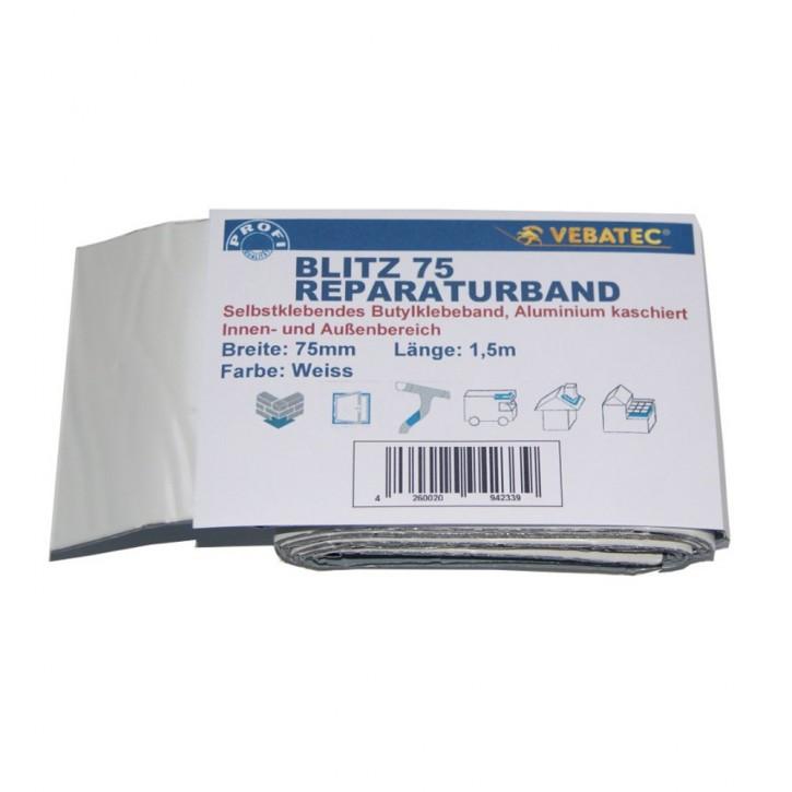 Vebatec Blitz Butyl Reparaturband Alu weiß 75mm / 1,5m